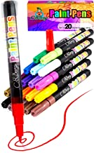 20 Paint Pens - Paint Marker Pens, Water Based Colors for Kids Adults, Sun - Water Resistant Fine Point, Paint on Rock, Wood, Glass, Ceramic, Metal, Clothes, Skin & Almost All Surfaces Model 2019