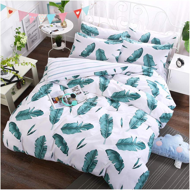 Duvet Cover Set Green Tropical Palm Leaves Pattern Printed Twin Size, Reversible Design Decorative Bedding Set Bedroom