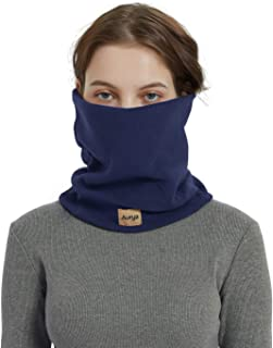 Fleece Neck Warmer Gaiter-Winter Windproof Face Mask Double Layer Neck Tube Scarf for Men&Women (Dark Blue)