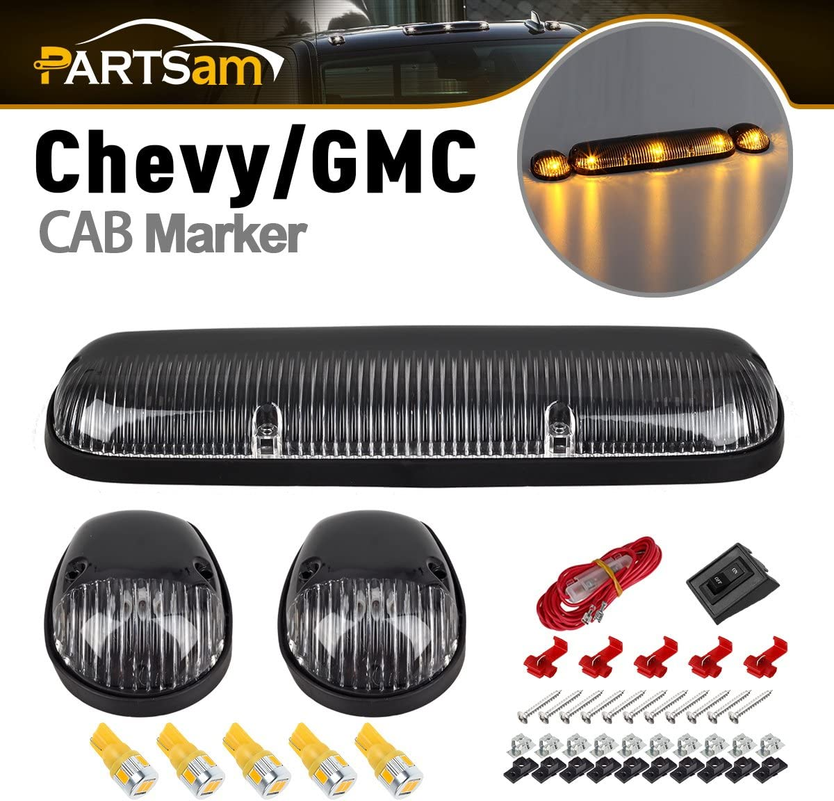Partsam Cab Light Top Roof Marker Large special price 264155CL Raleigh Mall Running 3P Lights