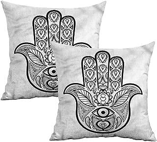 Khaki home Hamsa Square Throw Pillow Covers Nature Tribal Boho Art Square Body Pillowcase Cushion Cases Pillowcases for Sofa Bedroom Car W 20