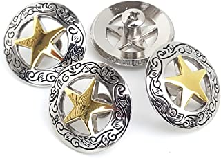 """Set of 4 1-1/8"""" Silver Engraved Gold Star Concho W/ 1/4"""" Screw Back"""