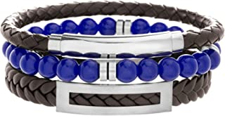 Steve Madden Stainless Steel Braided Leather Beaded Stackable Bracelet for Men