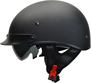Vega Helmets Warrior Motorcycle Half Helmet with Sunshield for Men & Women, Adjustable Size Dial DOT Half Face Skull Cap for Bike Cruiser Chopper Moped Scooter ATV (Small, Matte Black)
