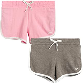 Reebok Girls Running Shorts - Athletic Dolphin Gym Shorts for Running and Yoga, Lightweight Cotton Blend (2 Pack)