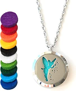 FIKA Tinkerbell Air Freshener Diffuser Necklace Locket Aromatherapy Essential Oil Great for Travel Pads (Necklace)