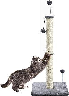 Pettom つめとぎ 猫 キャットポール 爪みがきポール つめとぎ ねこ タワー 高さ97cm おもちゃ付き ストレス解消 ガリガリポール スクラッチャー ねこ 爪とぎ (97cmダークブルー)