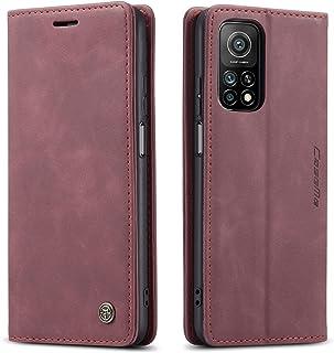 شاومى مى 10 تى / مى 10 تى برو (Xiaomi Mi10T / Mi 10T Pro 5G)جراب فليب حمايه من الجلد الطبيعى وحامل للكروت وبطاقات- لون احمر