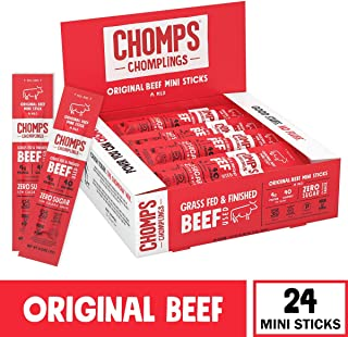 CHOMPS MINI Grass Fed Beef Jerky Meat Snack Sticks | Keto Certified, Whole30 Approved, Paleo, Low Carb, High Protein, Gluten Free, Sugar Free, Non-GMO | 40 Calorie 0.5 Oz Sticks, Original Beef 24 Pack