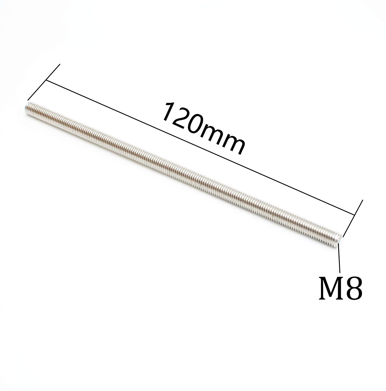 Right Hand Thread 5 Pieces Smartsails M8 x 120mm,304 Stainless Steel Full Threaded Rod