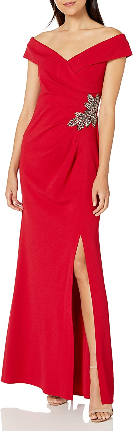 Alex Evenings Women's Long Crepe Off The Shoulder Fit and Flare Dress