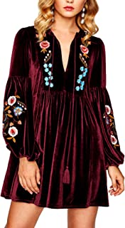 Roiii Women A-Line Velvet Loose Length Sleeve Casual Dresses V Neck Embroidery Party Short Dress Dress