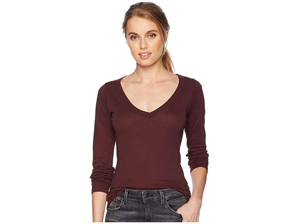 LAmade Fitted V-Neck Tee (Decadent Chocolate) Women's Long Sleeve Pullover