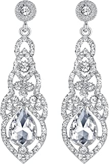 mecresh Austrian Crystal Rhinestone Bridal Wedding Dangle Earrings for Women in Silver Gold Black Champagne Red fit with Wedding Dress