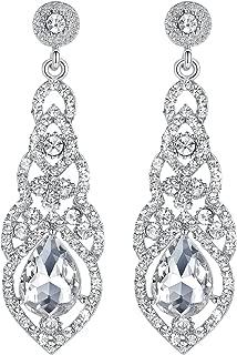 Austrian Crystal Rhinestone Bridal Wedding Dangle Earrings for Women in Silver Gold Black Champagne Blue