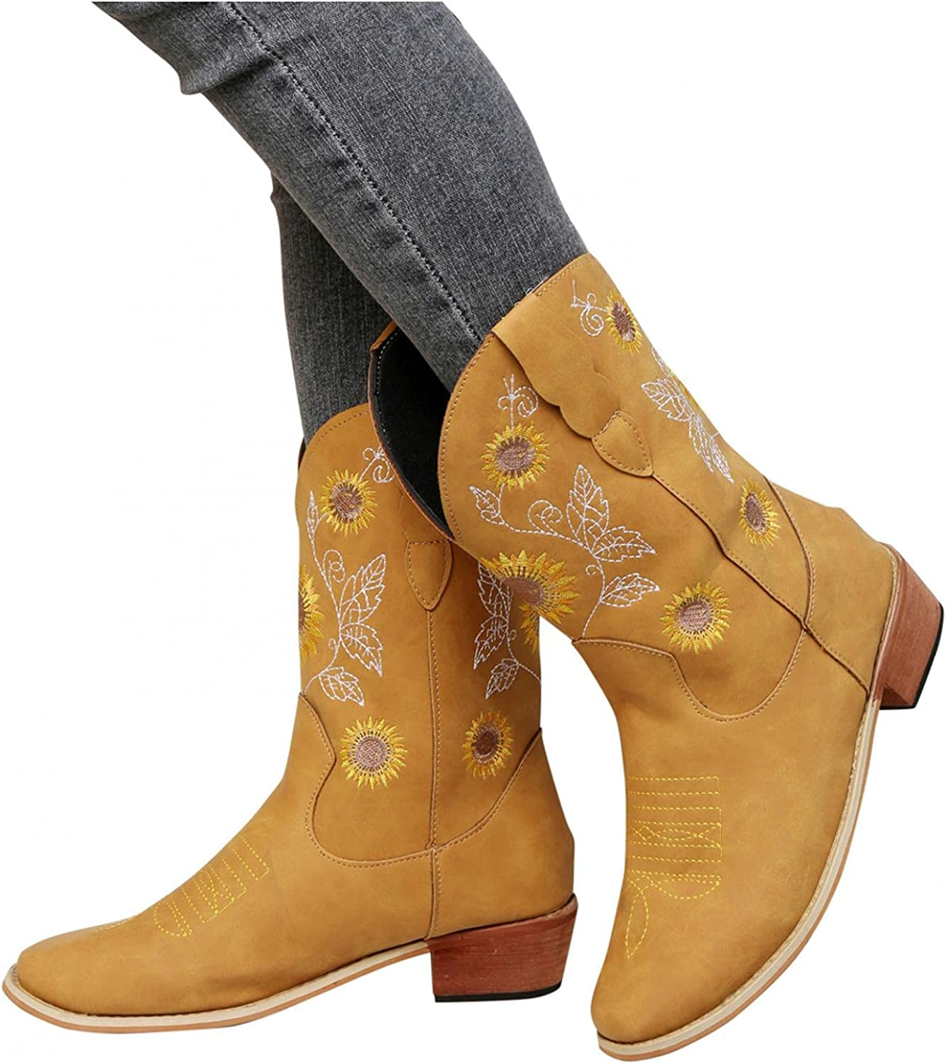 AODONG Cowboy Boots for Women Chunky Heel Sunflowers Embroidery Boots Retro Square Toe Pull On Boots Western Mid Calf Shoes