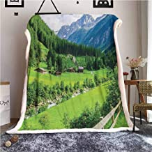 Mountain Puppy Blanket Sherpa Alpine Landscape with Meadow Cottages and Pines Stream in Village View Print for Bed or Couch Ultimate Sherpa Throw Green White W59xL47 inches