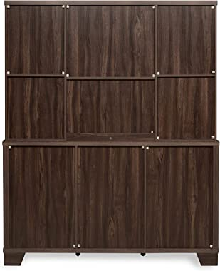 @home by Nilkamal Stora Engineered Wood Crockery Unit in Cappucino Finish