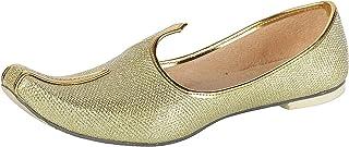 BombayFlow Roy Punjabi Jutti Flats Handmade - Gold Shoes - Khussa Shoes Jutti - Indian Wedding, Mojari Shoes, Sherwani Kur...