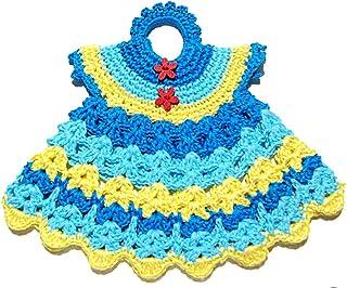 Agarradera azul y amarilla en forma de vestido de ganchillo - Tamaño: 19.5 cm x 16.5 cm H - Handmade - ITALY
