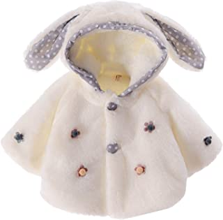 500ef9fdf553f Happy Cherry Veste Bébé Fille Blanc Automne Hiver Manteau Lapin Craquant  Enfant Cape à Capuche Peluche