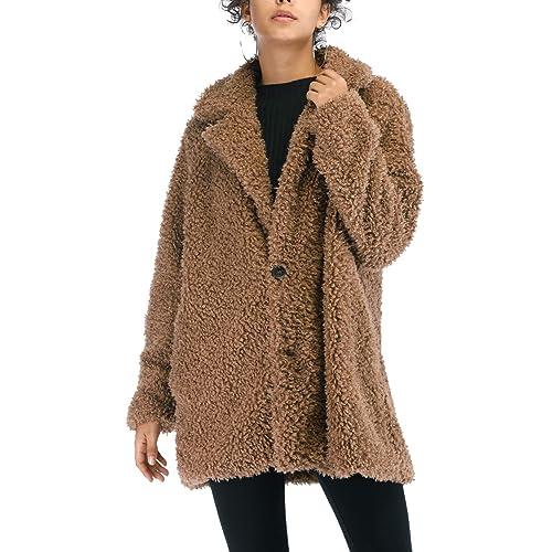 0864ca61bf8 Kooosin Women s Warm Artificial Soft Wool Lapel Coat Jacket Winter Sherpa  Rolls Wool Parka Outerwear