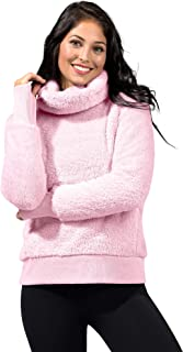 90 Degree by Reflex Warm and Fuzzy Fleece Teddy Cardigan Sherpa Jacket with Hood and Front Pockets