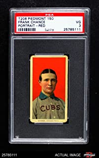 1909 T206 RED Frank Chance Chicago Cubs (Baseball Card) (Portrait with a Red Background) PSA 3 - VG Cubs