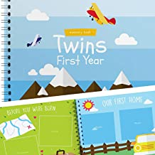 Twins First Year Hardcover Memory Book Airplanes Edition - Newborn Babies 1st Year Journal and Milestones Photo Album - Perfect and Unique Gift Idea for Baby Showers and Birthday Presents