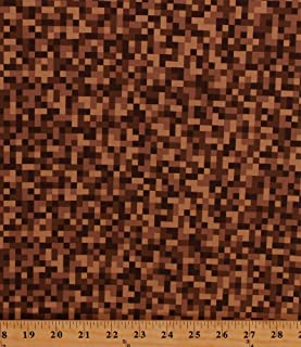 Cotton Brown Bitmap Pixels Digital Building Blocks Squares Gamer Video Games Cotton Fabric Print by The Yard (CX7029-BROW-D)