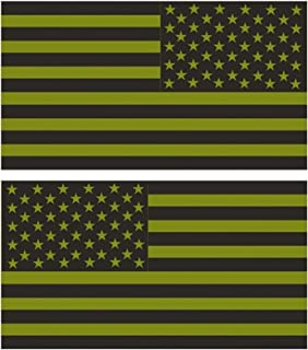 Chiam-Mart 1 Pair Imposing Unique Green Subdued Flag Stickers Sign Vinyl USA Tactical Car Decal Window Graphics Racing Laptop Decor Cars Sticker Kids Trucks Bike Patches Decals Size 10