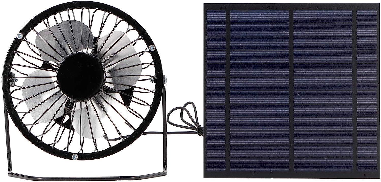 Omabeta Mini Panel Solar de 5 W con Ventilador de refrigeración portátil, Conjunto de Paneles solares fotovoltaicos para Invernadero para Oficina en casa, Viajes al Aire Libre, Pesca