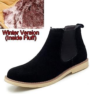 WSGZH Dessert Plates Ceramic Cheville Chelsea Bottes Hommes Hiver Chaussures Chaussures Cuir Daim Vintage Classique Mascul...