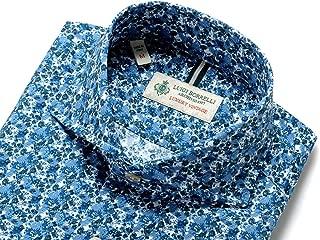 ルイジボレッリ ルイジボレリ LUIGI BORRELLI / 20SS!製品洗いコットンポプリン花柄プリントホリゾンタルカラーシャツ「NA35(9021)」 (ネイビー×グリーン×ホワイト) メンズ