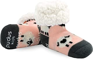 Pudus Sheep Blush Kids Non-Slip Slipper Socks Grippers & Fleece Lining