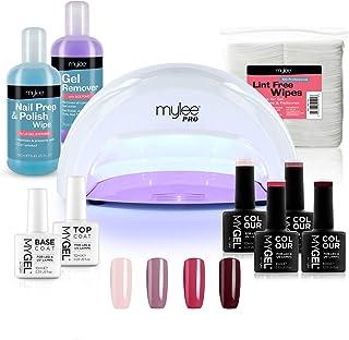 Kit Profesional LED Mylee para barniz de uñas 4x colores MYGEL capa superior e inferior lámpara LED de curado convexo M...