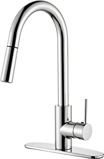 TimeArrow Modern Commercial Chrome Pull Down Sprayer Kitchen Faucet, Single Handle Pull Out Kitchen Sink Faucet With Deck Plate, TAF6008H-CP