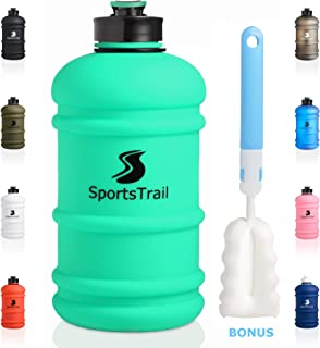 Half Gallon Sports Water Bottle 2.2L, Leak Proof Reusable Gym Water Jug with Spout, BPA Free Dishwasher Safe TRITAN Material, Large Water Bottle for Camping Fitness Workout Office & Cleaning Brush