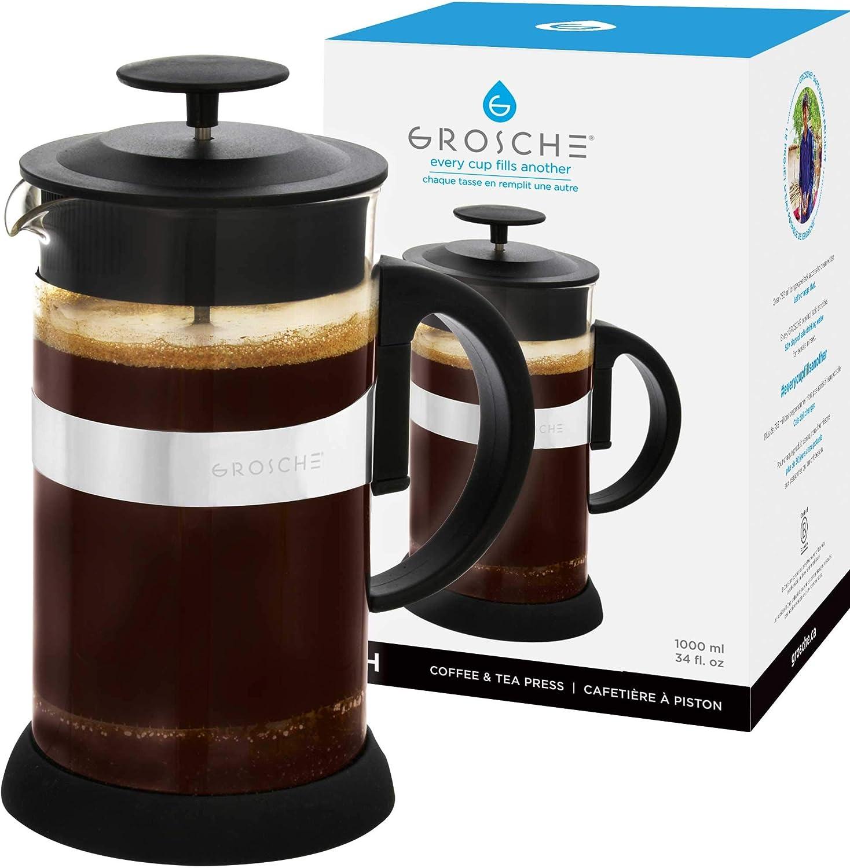 GROSCHE Zurich French Press Albuquerque Mall Coffee maker Large discharge sale fl 8 34 oz BLACK dem