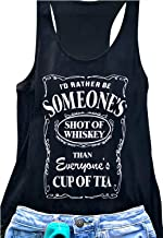 Women Funny Shot of Whiskey Workout Tank O-Neck Graphic Drinking Racerback Tee Shirt Vest
