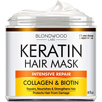 Keratin Hair Mask - Made in USA - Best Natural Biotin Keratin Collagen Treatment for Dry & Damaged Hair - Professional Collagen Hair Vitamin Complex for Hair Repair, Nourishment & Beauty - 8 oz