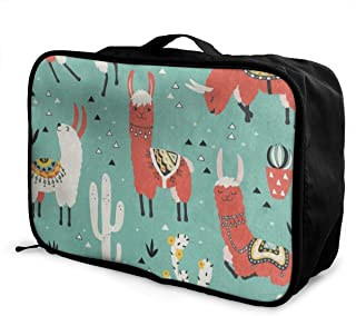 Lightweight Large Capacity Portable Luggage Bag Llamas Cactus Unicorn Rabbit Grass Travel Waterproof Foldable Storage Carry Tote Bag