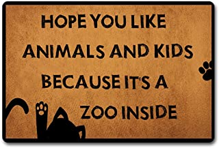 ST Entrance Door Mats Hope You Like Animals and Kids Because It's A Zoo Funny Welcome Mat Outdoor/Indoor Bathroom/Kitchen Anti-Slip Rubber Rugs Personalized Doormat 23.6