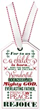 Gift Tag Unto Us a Child is Born Isaiah 9:6 Wood 3 x 5 Christmas Ornament