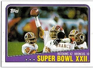 1988 Topps Washington Redskins 1987 Super Bowl Champions Team Set with Art Monk & Doug Williams - 16 NFL Cards