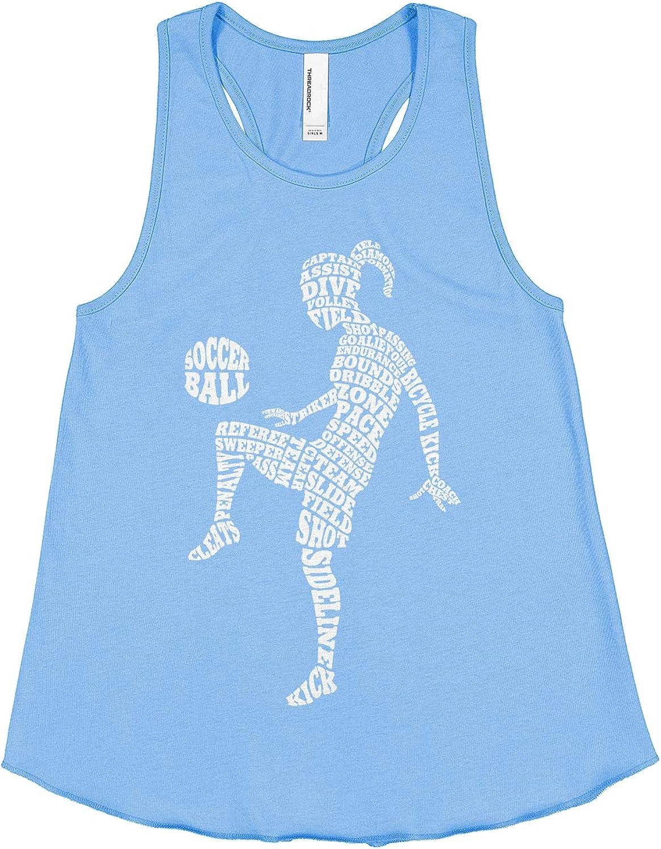 Threadrock Big Girls Soccer Player Typography Racerback Tank Top