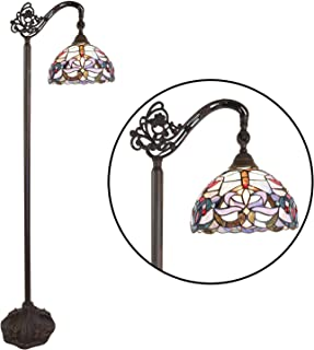 BONLICHT Tiffany Style Reading Floor Lamp Arched Antique Vintage Victorian Design 1-Light Stained Glass Table Desk Standing Light Wide 11 Tall 62 Inch Blue Shade for Living Room Reading Bedroom Office