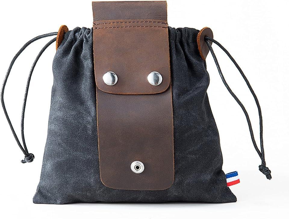 Tasche für Futtersuche Zusammenklappbar für Wandern, Faltbare Canvas Bushcraft-Tasche aus Leder und Leinwand mit Kordelzug für Camping Radfahren Klettern,Schwarz