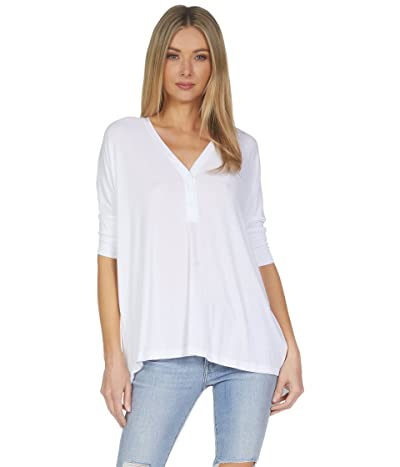 Michael Lauren Amos 3/4 Sleeve V-Neck Henley Tee with Tail