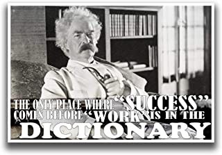 MR.CI JSC230 Only Place Success Comes Before Work Mark Twain Quote Poster | 18-Inches by 12-Inches | Premium 100lb Gloss Poster Paper